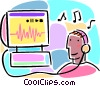 Vector Clipart graphic  of a internet downloadable music