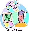 graduate with computer and satellite Vector Clipart picture