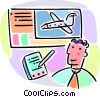 man booking flight reservations Vector Clipart illustration