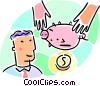 Vector Clip Art graphic  of a man shaking a piggy bank