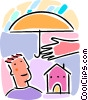 Vector Clip Art graphic  of a home insurance concept