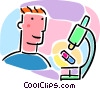 man with a microscope Vector Clip Art graphic