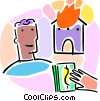 Vector Clip Art picture  of a Home fire insurance concept