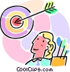 Vector Clip Art picture  of a woman archer with an arrow and target