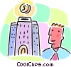 Vector Clip Art image  of a man with building and money