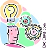 Vector Clipart image  of a man with good idea with gear