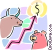stock market bull and bear concept Vector Clip Art picture