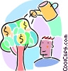 money tree concept with watering can Vector Clipart illustration