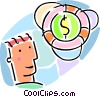 Vector Clip Art graphic  of a life preserver with dollar