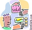 Vector Clipart picture  of a buying a home concept