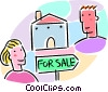 House for sale with man and woman Vector Clipart graphic
