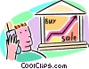 Vector Clip Art picture  of a stock market with man and cell