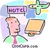 business travel with airplane and hotel sign Vector Clipart graphic