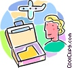 business travel with woman and briefcase Vector Clipart picture