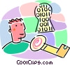 Vector Clip Art image  of a on-line key to digital success