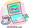 cup of coffee with morning news Vector Clip Art picture