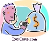 man with a stethoscope and bag of money Vector Clip Art picture