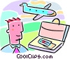 business travel with man and briefcase Vector Clip Art image