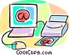 Vector Clipart picture  of a computer internet e-mail with printer