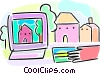 Vector Clip Art image  of a On-line home shopping