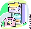 Vector Clip Art graphic  of a telephone with filing cabinet