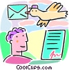 Vector Clipart graphic  of a man with signed letter airmail bird