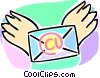 envelope with e-mail symbol takes flight with wings Vector Clipart graphic