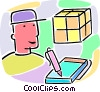 shipping person with courier package Vector Clipart graphic