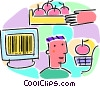 Vector Clip Art picture  of a grocery store with apples and