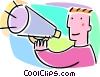 man with a megaphone making an announcement Vector Clipart picture