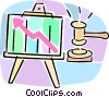 presentation chart with growth arrow and gavel Vector Clipart picture