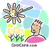 Man with nature, ecology Vector Clipart illustration