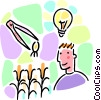 man with a good idea light with tweezers and seed Vector Clipart picture