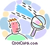 man with magnifying glass and shooting stars Vector Clip Art picture