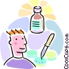 Vector Clipart picture  of a microbiologist with petri dishes