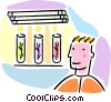 Vector Clipart graphic  of a biologist with plants in test