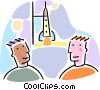 Vector Clipart graphic  of a men with a rocket about to