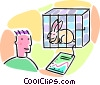 man looking at a rabbit in a cage Vector Clipart illustration