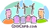 Vector Clip Art graphic  of a windmills creating power