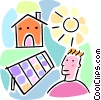Vector Clip Art image  of a solar power