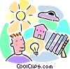 Vector Clip Art graphic  of a solar power