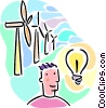 windmill creating electricity Vector Clipart picture
