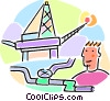 Vector Clip Art image  of a oil rig and pipeline