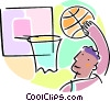 Basketball player making a shot Vector Clipart illustration