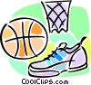 basketball shoes, net and ball Vector Clipart picture