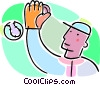 Vector Clipart graphic  of a baseball player catching a