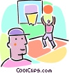 Basketball player shooting hoops Vector Clip Art picture