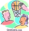 Boys and girls with a basketball and net Vector Clipart image