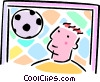 Vector Clipart illustration  of a soccer goalie