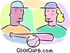 Vector Clipart picture  of a boys and girls with a baseball bat